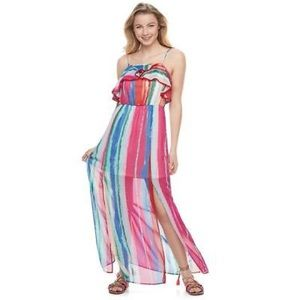 Candie's Dresses - Candie's Junior Colorful Maxi Ruffle Dress Size S